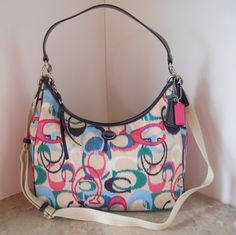 'NWT Large Coach Signature Stripe Ikat Convertible Hobo ' is going up for auction at  2pm Sun, Aug 18 with a starting bid of $150.