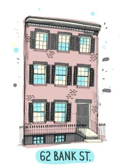 All the Buildings in New York - An attempt to draw all buildings in New York by James Gulliver Hancock. This is 62 Bank Street.