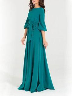 Grün Taschen mit Schleife Gürtel Rundhals 3 4 Ärmel Elegante Maxikleid  Ballkleider Abendkleider 75100bca5b