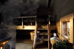Interior of the traditional Juuka based smoke sauna Modern Saunas, Electric Sauna Heater, Sauna Design, Design Design, Finnish Sauna, Backyard Buildings, Rocket Stoves, Higher Design, Pool Designs