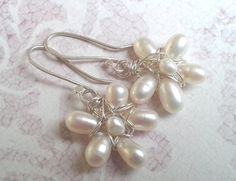 BLOSSOM Earrings White Natural Pearls Wire Wrapped by YLOjewelry, $33.00