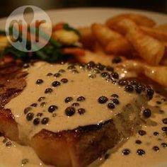 Juicy steak with brandy peppercorn sauce @ allrecipes.co.uk