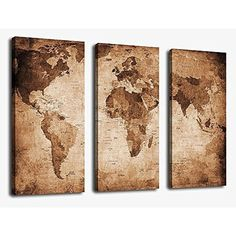 Framed Vintage World Map Giclee Canvas Art Print Picture Wall Home Office Decor #yearainn #Vintage