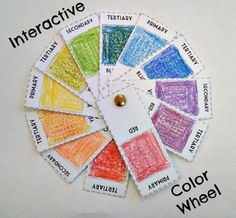 Interactive color wheel art lesson for 4th 5th 6th 7th 8th grade middle school students. Great project for learning about the element of art color! Also for practicing mixing colors and learning the primary, secondary, and tertiary colors.
