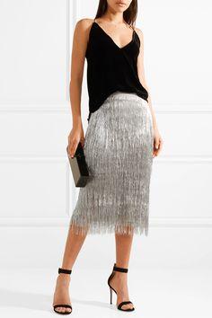 Rachel Zoe | Delilah metallic fringed midi skirt | NET-A-PORTER.COM