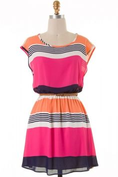 Short sleeve stripe woven dress with belted waist