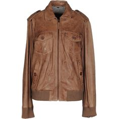 Oakwood Jacket (7.145 CZK) ❤ liked on Polyvore featuring outerwear, jackets, light brown, single breasted jacket, brown leather jacket, leather jackets, 100 leather jacket and genuine leather jackets