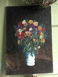 Oud Brocante Sleets Olieverf Schilderij met Bloemen