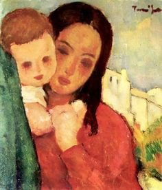 "Nicolae Tonitza (Romanian, 1886 - 1940) ""Mother and Child"""