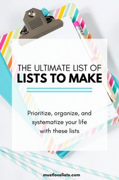 If you love lists, you'll love this!  All the lists you need to organize, prioritize, and systematize your life.  Check out these 75 best lists to make. #liststomake #organizeyourlife #listyourlife #listoflists Pantry Inventory, Household Binder, Chore List, Miracle Morning, Paper Clutter, Family Organizer, Psychology Today, Organize Your Life, Lists To Make