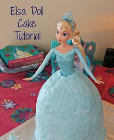 """One Bowl"" Elsa Doll Cake Tutorial + Frozen Party Ideas"