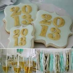 Kate Landers New Years Eve Party, cookies by Bambella Cookie Boutique, Straws from Shop Sweet Lulu, Tissue Garland by The Flair Exchange