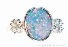 Harlequin Black Opal Diamond 14k Gold Ring Pink Engagement Australian Birthstone | eBay