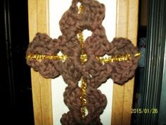 Rustic Wall Cross in Crochet Brown with Gold by EvelynMayfield