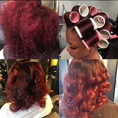 maintain your healthy natural hair by using less direct heat such as the blow dryer. Rollers can be purchased… Roller Set Natural Hair, Natural Hair Tips, Natural Hair Styles, Natural Hair Blowout Styles, Natural Girls, Going Natural, Natural Afro Hairstyles, Cute Hairstyles, Straight Hairstyles