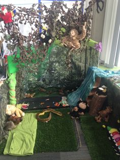 Rain forest role play complete with water fall.