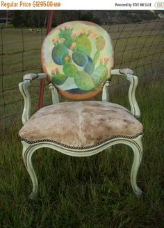 Cowgirl Chic Cactus and Cowhide Queen Anne Chair by LachNLoaded on Etsy Loft Furniture, Western Furniture, Repurposed Furniture, Home Decor Furniture, Custom Furniture, Furniture Makeover, Urban Furniture, Handmade Furniture, Painted Chairs