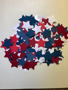 4th of July table scatter red,white and blue star table confetti table scatter. 4th of July decor by PreciousPagesBySusan on Etsy Recipe Scrapbook, Scrapbook Pages, Different Colors Of Red, Brag Book, Table Confetti, Wedding Decorations, Table Decorations, Album Book, Buffalo Chicken