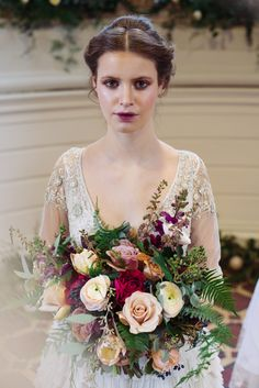 Bridal bouquet by The Rose Shed, wedding hair and watercolour lipstick by Bath Makeup Artist, embellished gown by Sharon Bowen-Dryden