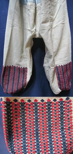 Traditional 'don' (women's long underpands). Cotton on cotton embroidered, with a stylized 'tree of life'-motif (trunk and branches in blue, flowers in red). From the Dursunbey district (east of the city of Balıkesir), mid-20th century. Ethnic group: Türkmen. (Inv.nr. don002 - Kavak Folklor Ekibi & Costume Collection-Antwerpen/Belgium).