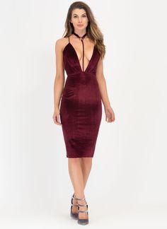 To A T-Strap Velvet Choker Midi Dress GoJane.com. Midi SkirtsMidi Dresses SpaghettiBodycon ...
