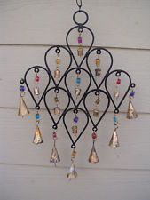 Teardrop Metal Frame with Golden Bells Multi Color Beads Wind Chimes FREE SHIP