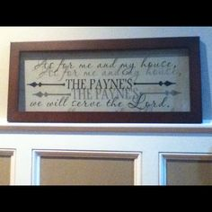 Personalized Joshua verse in vinyl decal on glass frame project :)