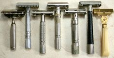 """Colloquially these razors have names (from left to right): GEM """"1912,"""" GEM Micromatic, Gillette """"Flair Tip"""" Super Speed, Gillette Slim Adjustable, Gillette """"Fatboy"""" Adjustable, Schick Krona, and Schick Injector. Each of these models are known to give great shaves,"""