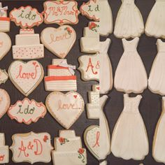 Wedding Shower Cookies. Love, I do, cakes, Mr. & Mrs. and Wedding dresses.