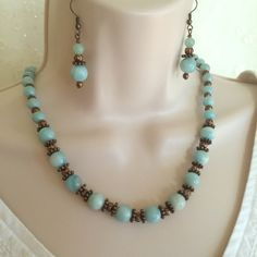 Amazonite and Copper Necklace set