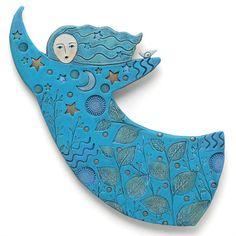 Moon Dancer, Handmade Ceramic, Home Decor, wall art, stars, moon, bird