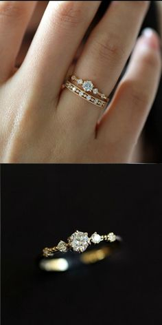 Moonstone engagement ring set Rose gold Diamond cluster ring Unique engagement ring vintage Curved wedding women Bridal Promise gift for her - Fine Jewelry Ideas Vintage Engagement Rings, Vintage Rings, Diamond Engagement Rings, Wedding Engagement, Snowflake Engagement Ring, Engagement Bands, Vintage Diamond, Ring Set, Ring Verlobung