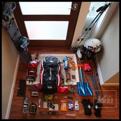 Behold! Everything you need for a day of backcountry snowboarding. Love this front door kit layout.