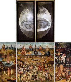 El Jardín de las Delicias (El Bosco). Es un mensaje de moralizar con críticas, con la tradición medieval de imágenes deformadas y caricaturas para revelar la malicia de sus personajes.
