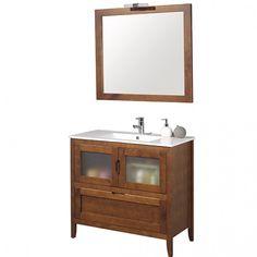 Mueble de baño rústico LEÓN con patas 80 cm teka con LAVABO 9536 Vanity, Bathroom Vanity, Decor, Bathroom