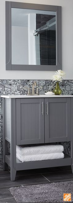 This vanity set combines strong, contemporary construction with a high-end painted grey finish.