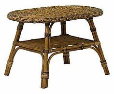 Tavolino in rattan e midollino Playa naturale - 80x50x50 cm