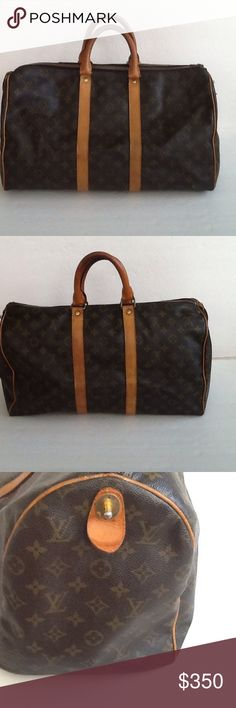 Authentic Louis Vuitton Keep All Boston Duffle Bag The leather and Hadley showed signs of use. The leather had done frays on the bottom corner. The straps are darker in the middle due to wearing. No date code as it was made before 1980. The dimension is 18, 12 and 8 Louis Vuitton Bags Travel Bags
