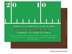 Are you ready for some football? Football party invites customized with your event details from Little Angel Announcements