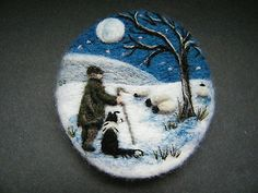Handmade needle felted brooch/Gift 'Meirion and Gwen .... ' by Tracey Dunn in Crafts, Hand-Crafted Items | eBay