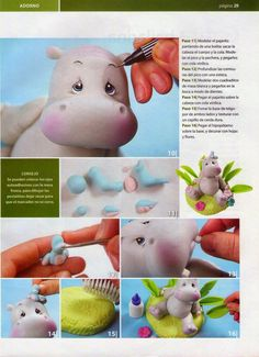 MIS REVISTAS PARA REPOSTERIA: LETICIA SUAREZ DEL CERRO (2012-Nº1) Polymer Clay Ornaments, Polymer Clay Crafts, Fondant Figures, Clay Figures, Porcelain Clay, Cold Porcelain, Safari Cakes, Polymer Project, Fondant Animals
