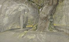 Samuel Palmer (British, 1805–1881) Oak Tree and Beech, Lullingstone Park, c. 1828 Pen and brown ink, graphite, watercolor, opaque watercolor and gum glaze, on gray paper The Morgan Library & Museum, Thaw Collection  The rooted strength of trees that the Romantics loved to depict in an almost anthropomorphized way, where the bark appears moving and living. Along with its symbolism of endurance, it may have also reflected on the strength of the country it thrived in: England.