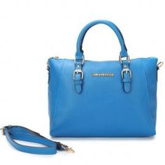 """Michael Kors Logo Large Blue Totes Outlet Size:13 2/5"""" x 5"""" x 11 -Leather -Golden hardware -Logo plate in front center -Double handles; top zip closure -Adjustable/Removable straps -Inside zip, cell phone and multifunction pockets"""
