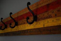 Save It For a Rainy Day: DIY Yardstick Coat Rack.or forget the yardsticks and paint similar colors! Diy Hat Rack, Hat Racks, Yard Sticks, Hat Organization, Coat Hooks, Towel Hooks, Coat Hanger, Decoration, Diys
