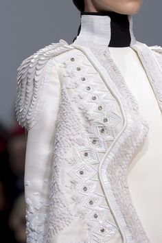 White on White Fashion - decorative beading & feathery textures - couture embellishment; military chic; fashion details // Stephane Rolland
