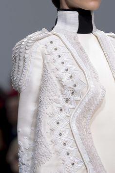 White on White Fashion - decorative beading & feathery textures - couture embellishment; military chic; fashion details // Stephane Rolland
