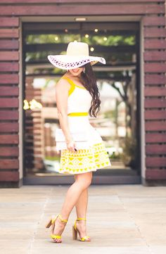 j&j petite clothing boutique review, floppy sun hat, strappy heels, white clutch | summer outfit