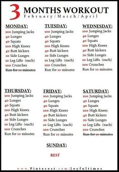 3 months workout schedule Crunch Time!!!