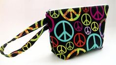 Zippered Pouch Wristlet - Clutch - Makeup Bag - Peace Signs on Black by UnexpectedTreasure for $18.00