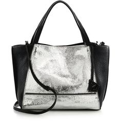 Botkier New York Soho Zipper-Trimmed Bite Size Metallic Leather Tote ($288) ❤ liked on Polyvore featuring bags, handbags, tote bags, apparel & accessories, christmas totes, metallic leather tote, leather zip tote, leather tote bags and genuine leather tote